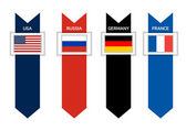 Infographic with 4 countries of G8 - USA Russia Germandy and F