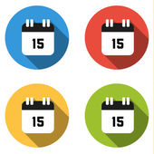 Collection of 4 isolated flat buttons (icons) for number 15