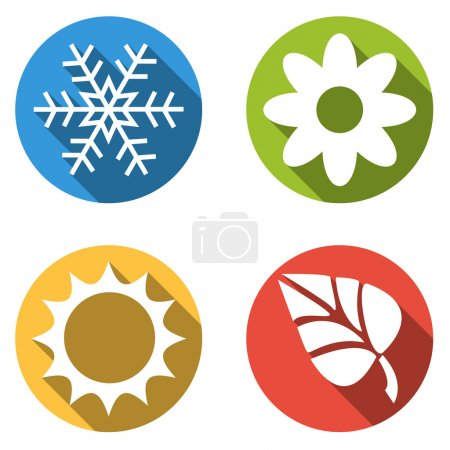 Collection of 4 isolated flat colorful buttons for 4 seasons ico