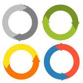 2 Pfeile machen einen Kreis - Set von 4 isolierten bunte Kreise