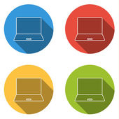 Set of 4 isolated flat colorful buttons (icons) for notebook (pc notebook computer)