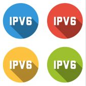 Collection of 4 isolated flat buttons for IPV6 (Internet Protoco