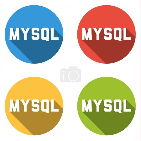 Collection of 4 isolated flat buttons for MYSQL (relational data