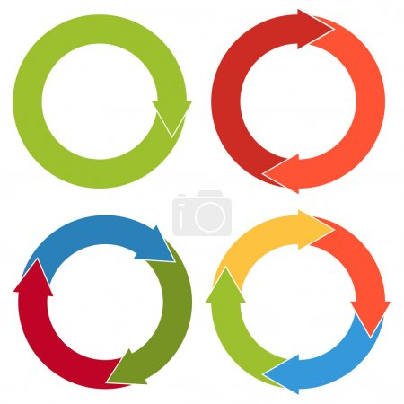 Set of 4 isolated flat colorful circular arrows with different n