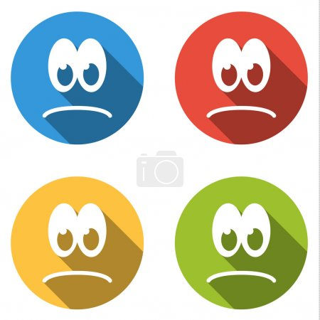 Illustration for Set of 4 isolated flat colorful icon emoticons - sad smile - Royalty Free Image