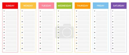 Week planning calendar (colors according to Thai astrology)