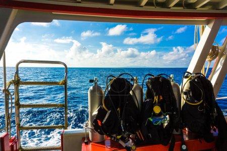 Scuba Diving kit set up ready for dive
