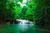 Jangle landscape with flowing turquoise water and fish of Erawan