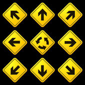 Directional Arrows Yellow Signs Danger and Caution Street Signs Collection Road Signs Editable Vector Illustration Vector EPS and High Resolution JPG Files Included