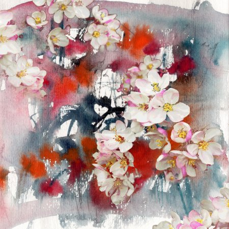 Flowers of apple tree, art background