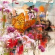 Butterfly and abstract watercolor, mixed media art background
