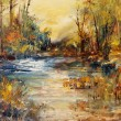 Lake in the forest, oil painting art background