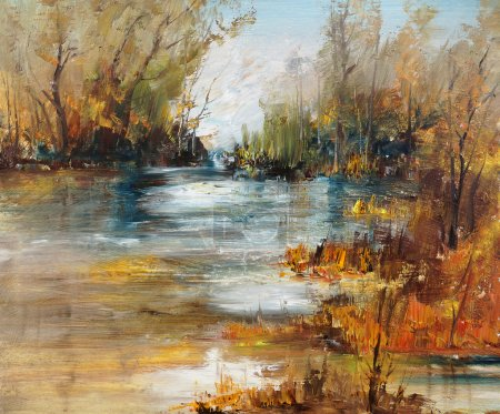 Surface of the lake in the forest, oil painting