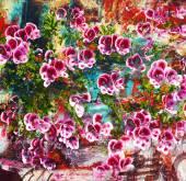 Fialové květy, abstraktní malba olej na plátně