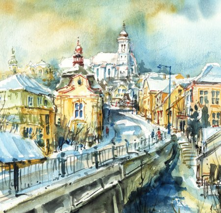 City of Churches, watercolor