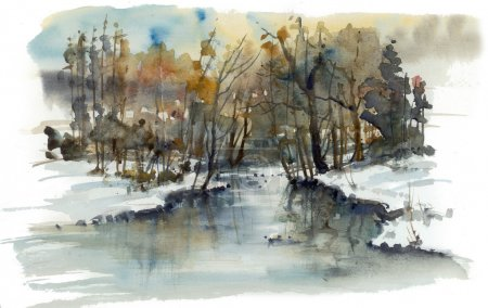The river in the woods, winter landscape, watercolor