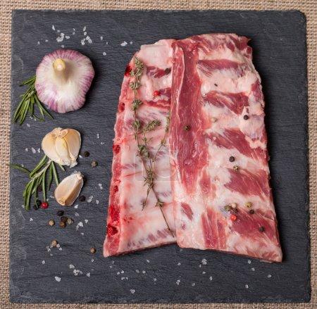 Fresh pork ribs, meat  with garlic allspice
