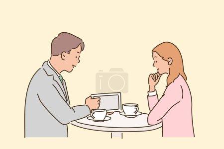 Illustration pour Deux associés d'affaires se réunissent alors qu'ils sont assis à la table. illustrations de design vectoriel de style dessiné à la main. - image libre de droit
