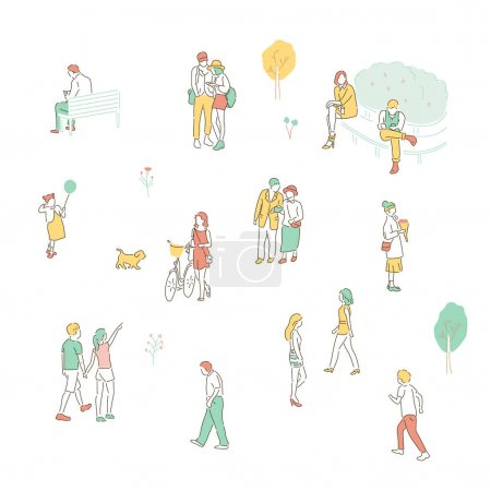 Illustration for Small and simple people characters are walking on the street. hand drawn style vector design illustrations. - Royalty Free Image