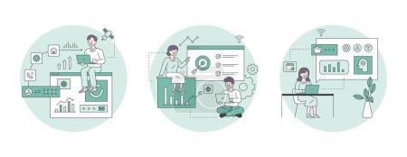 Illustration pour Illustration marketing d'entreprise. Icônes d'affaires et personnes analysant le matériel graphique et fixant des objectifs. schéma illustration vectorielle simple. - image libre de droit