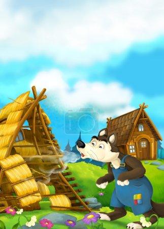Photo pour Illustration traditionnelle joyeuse et colorée pour enfants - image libre de droit