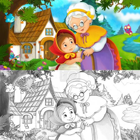 Cartoon scene child with grandmother standing near the house - illustration for children