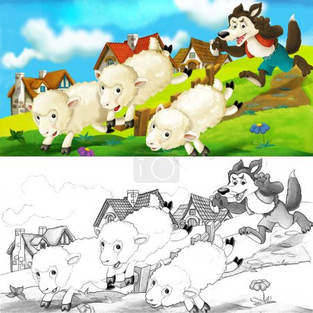 Cartoon scene of a wolf trying to steal a sheep from the herd