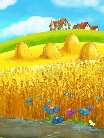 Beautifully colored farm scene - rural - village