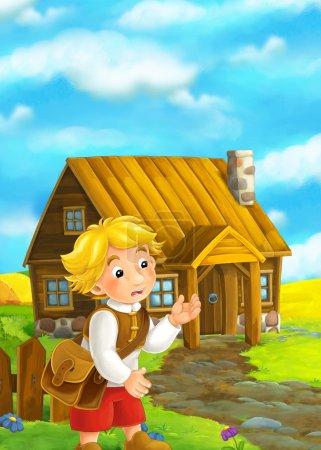 boy standing near wooden house