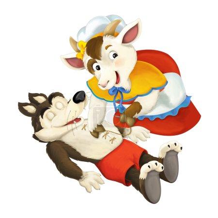 Photo pour Illustration traditionnelle joyeuse et colorée d'animaux pour enfants - image libre de droit