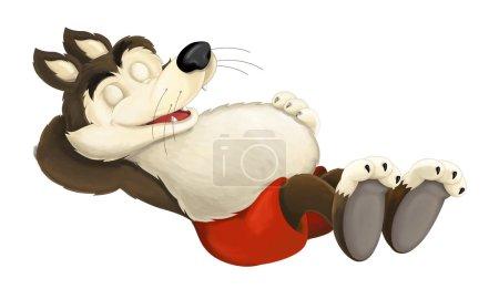 Photo pour Scène de dessin animé d'un loup dormant ou se reposant après avoir mangé trop - illustration pour les enfants - image libre de droit