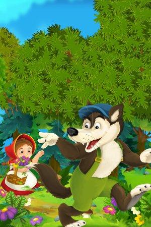 Cartoon forest scene - wolf waving little girl for goodbye - good for different fairy tales - illustration for the children