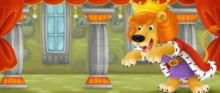 Foto de Escena de dibujos animados con León feliz - cat - mirar como un rey - ilustración para los niños - Imagen libre de derechos
