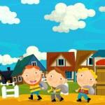 Cartoon scene with farmers in the village - illust...