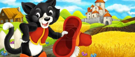Cartoon scene - cat traveling to the castle on the hill - illustration for children