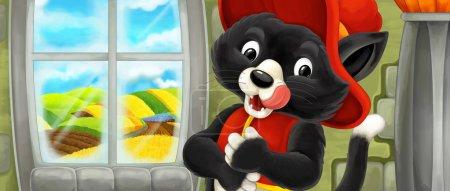 Foto de Escena de dibujos animados con gato feliz como un noble - ilustración para los niños - Imagen libre de derechos