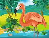 Kreslený flamingo