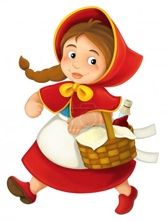Photo for Cartoon little girl  - Red Riding Hood - illustration for the children - Royalty Free Image