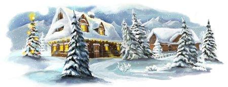 Photo pour Village de conte de fées de Noël - illustration de célébration - image libre de droit