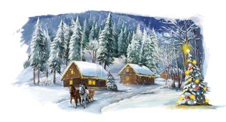 Foto de Pueblo de cuento de hadas navideño - ilustración de la celebración con los caballos y el árbol de Navidad - Imagen libre de derechos