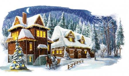 Foto de Escena de feliz Navidad invierno - ilustración para los niños - Imagen libre de derechos