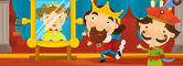 Kreslené pohádky středověké scény wiyh král pohledu na zrcadlo, kde jeho žena je na druhé straně zrcadla