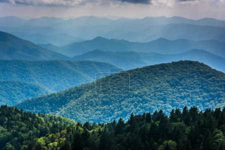 Layers of the Blue Ridge Mountains seen from Cowee Mountains Ove