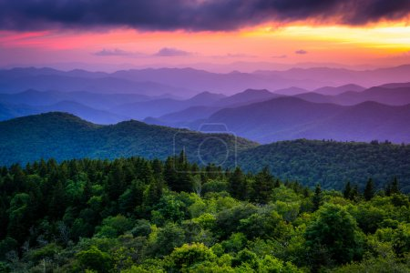 Photo for Sunset from Cowee Mountains Overlook, on the Blue Ridge Parkway in North Carolina. - Royalty Free Image