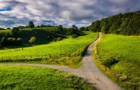 Photo pour Vue du sentier et les champs de la blue ridge parkway à moses h. cône memorial park, en Caroline du Nord. - image libre de droit