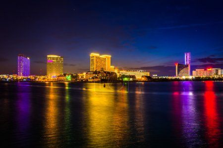 Casinos reflecting in Clam Creek at night in Atlantic City, New