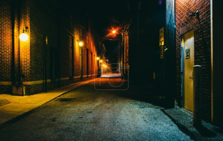 Photo for Dark alley at night in Hanover, Pennsylvania. - Royalty Free Image