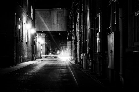 Dark alley at night in Hanover, Pennsylvania.