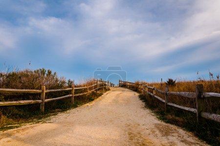 Photo pour Chemin d'accès sur les dunes de sable de la plage, de cape may, new jersey. - image libre de droit