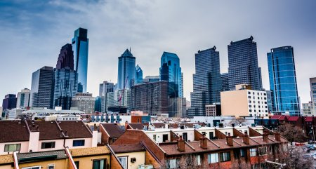 View of the skyline from a parking garage in Philadelphia, Penns
